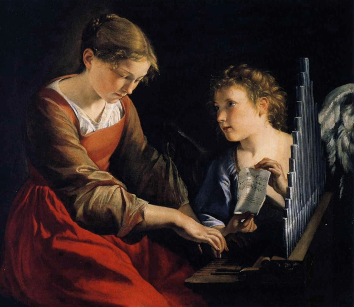Орацио Джентилески. Святая Цецилия с ангелом (1618-1621)
