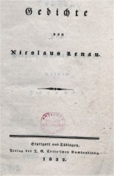 Титульный лист изданного в 1832 году первого поэтического сборника Николауса Ленау 'Gedichte'