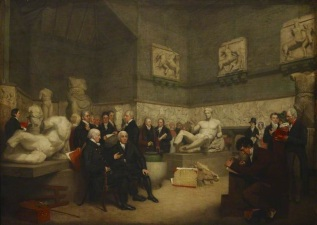 Арчибальд Арчер. Временное помещение для размещения коллекции графа Элгина с портретными изображениями персонала, государственных попечителей коллекции и посетителей (1819) (The British Museum)