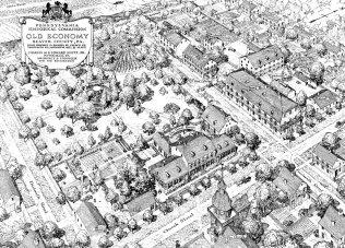 Проект реконструкции города Олд-Экономи (Пенсильвания) 1937 года (Фрагмент)